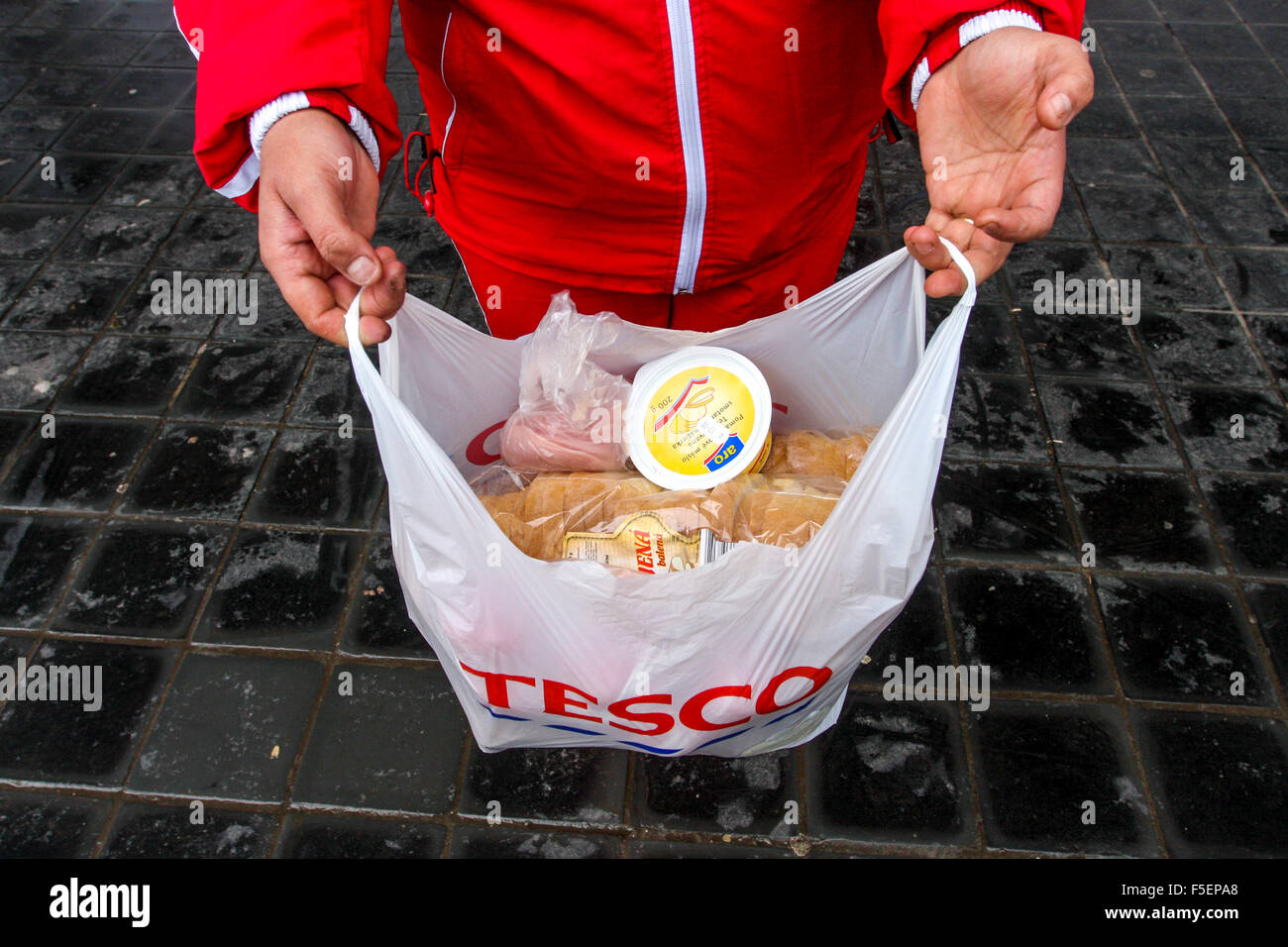 Purchased goods in a plastic bag, Tesco storeStock Photo