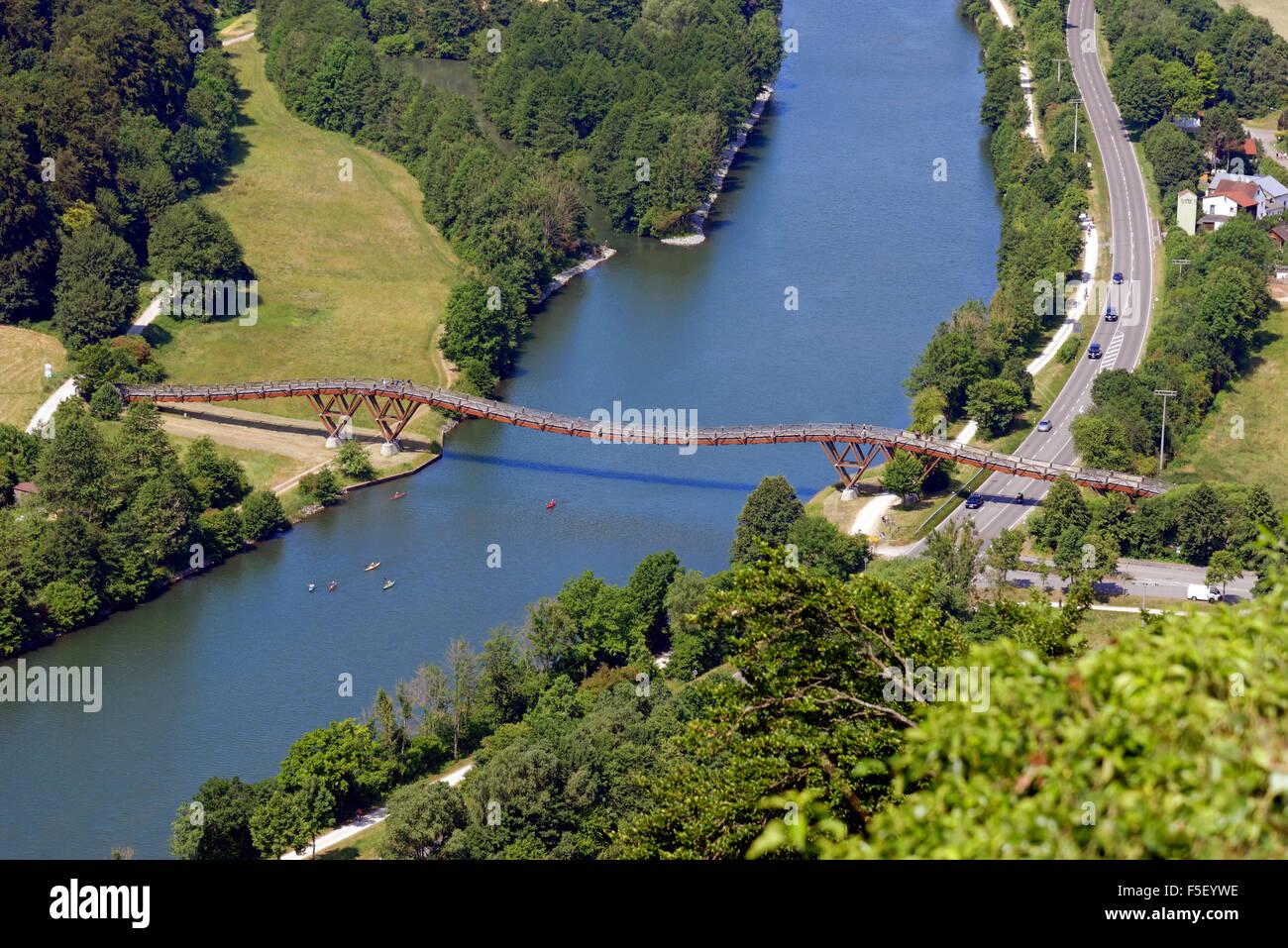Rhine-Main-Danube Canal and Holzbrücke Tatzelwurm, catenary bridge, Essing, Bavaria, Germany - Stock Image
