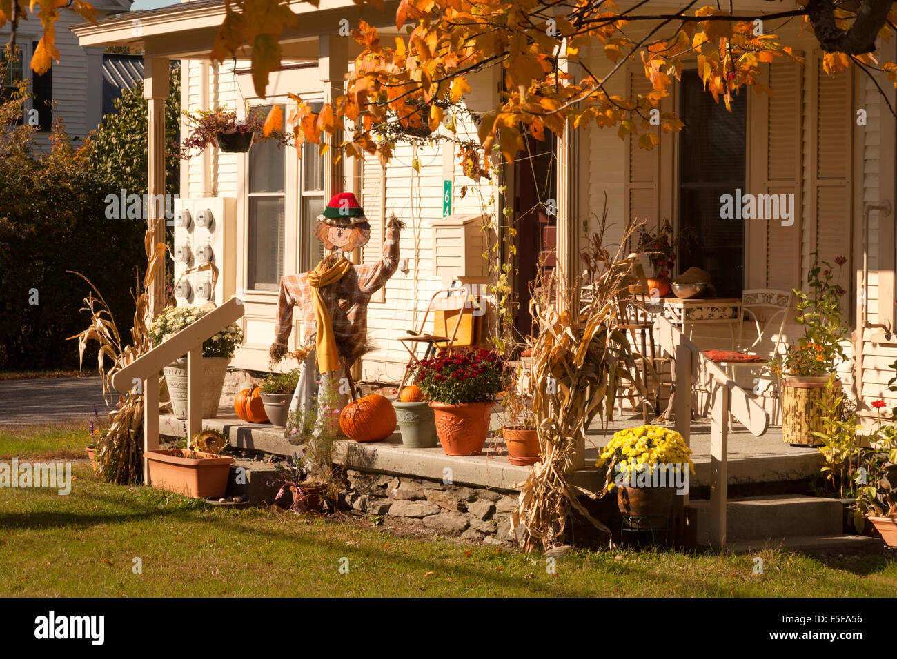 halloween decorations on a house porch, stowe, vermont vt, new stock