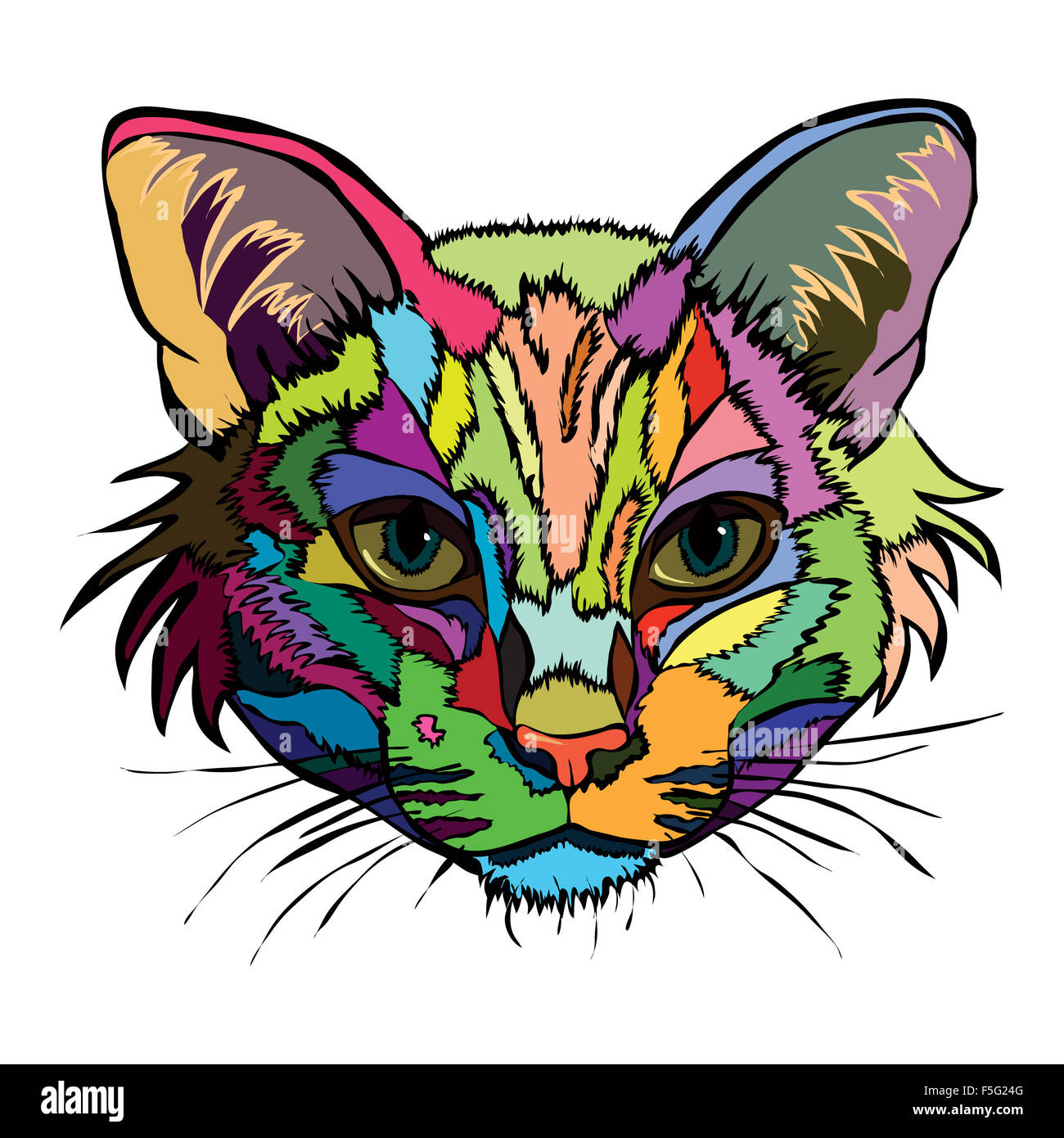 vector illustration pop art portrait of a cat on a white background