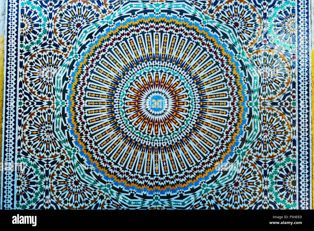 Closeup of colorful Moroccan tile-work. - Stock Image