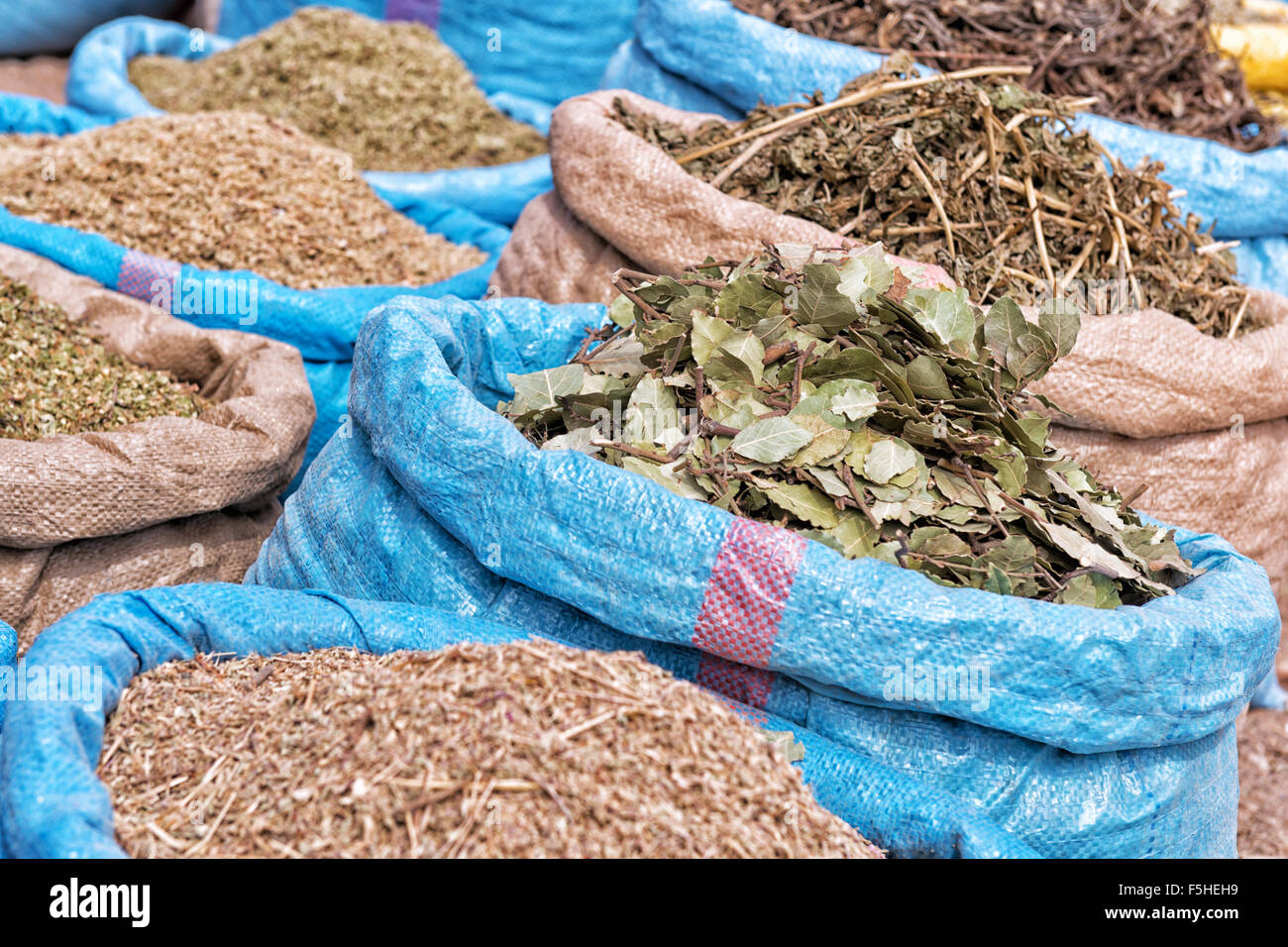 Herbs and spices at the market. - Stock Image