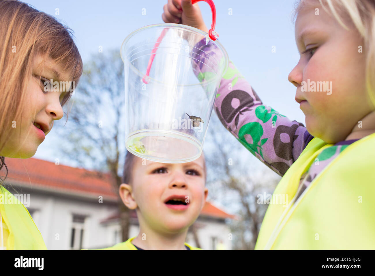 Sweden, Vastergotland, Olofstorp, Bergum, Kindergarten children (2-3, 4-5) learning outdoors - Stock Image