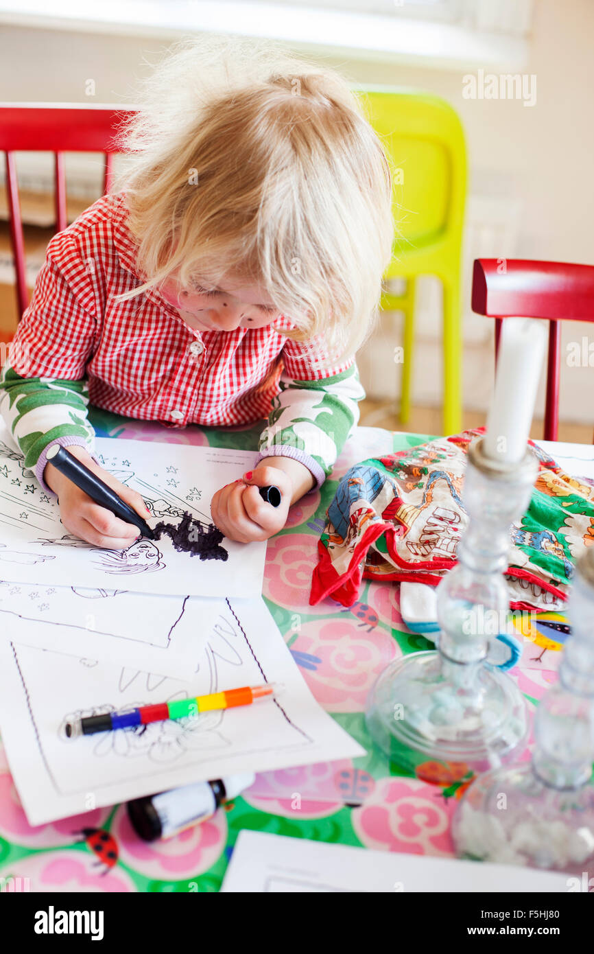 Sweden, Girl (2-3) coloring pictures - Stock Image