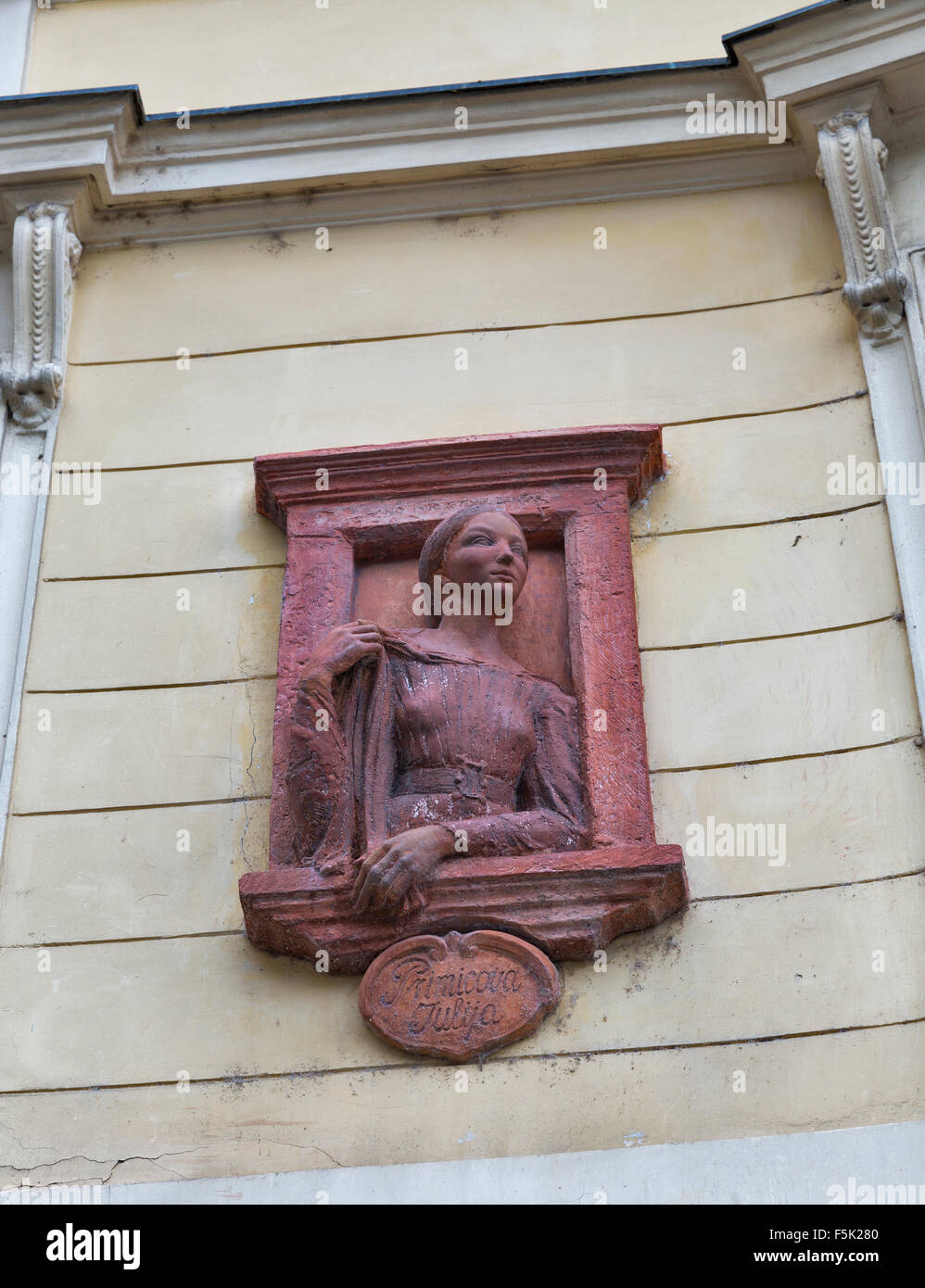 Ancient bas relief on building wall in Ljubljana, Slovenia. Primicova Julija was unrequited love of famous Slovenian - Stock Image
