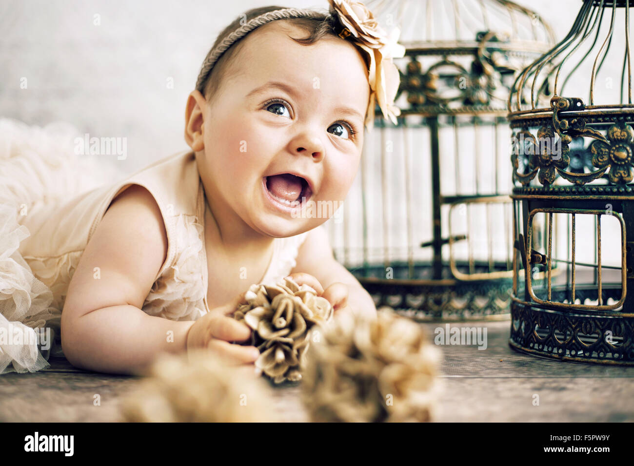 Closeup portrait of the cute baby - Stock Image