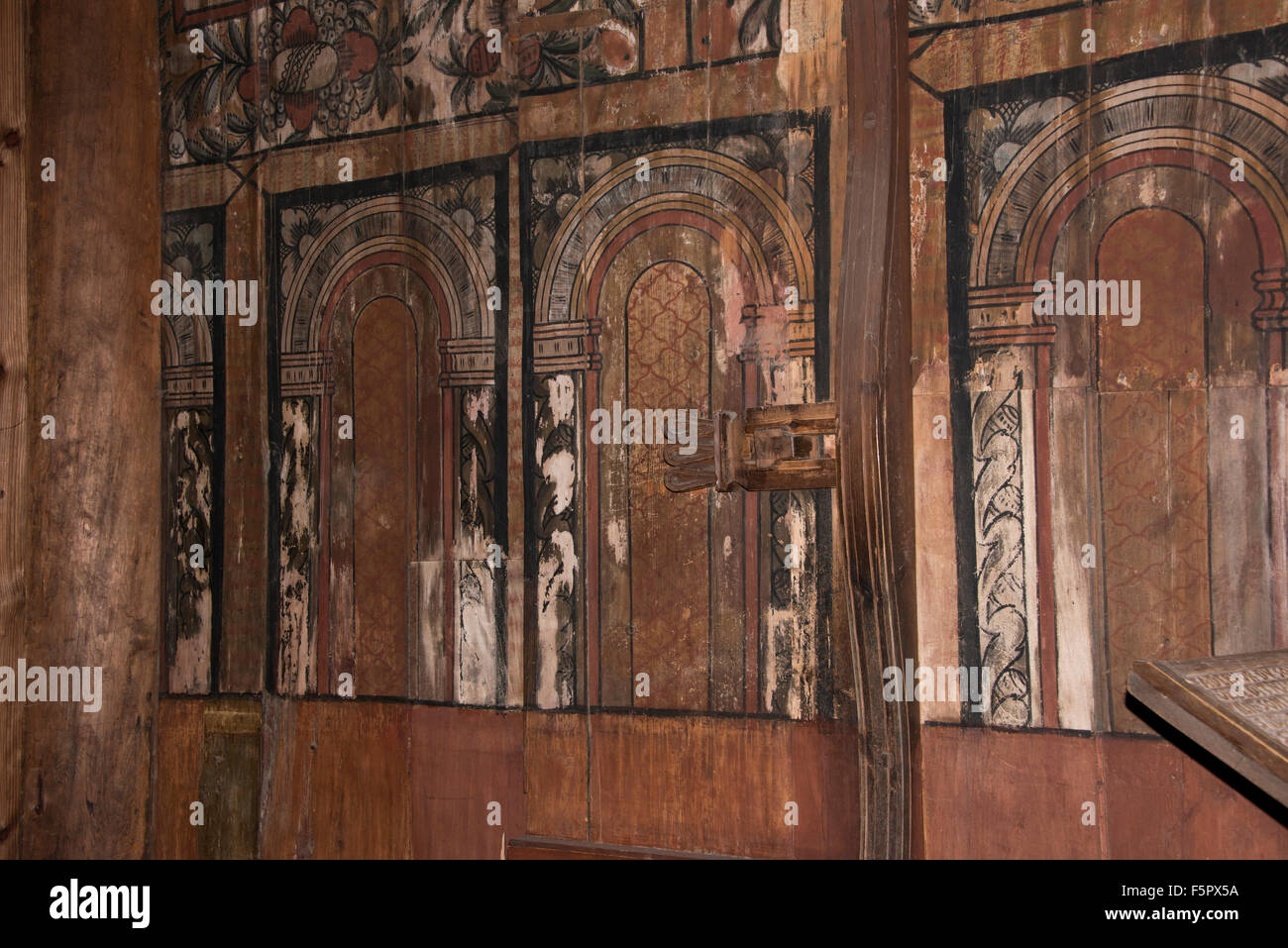 Norway, Oslo, Norsk Folk Museum (aka Norsk Folkemuseum). Historic wooden Stave Church from Gol, c.1200, Interior. - Stock Image