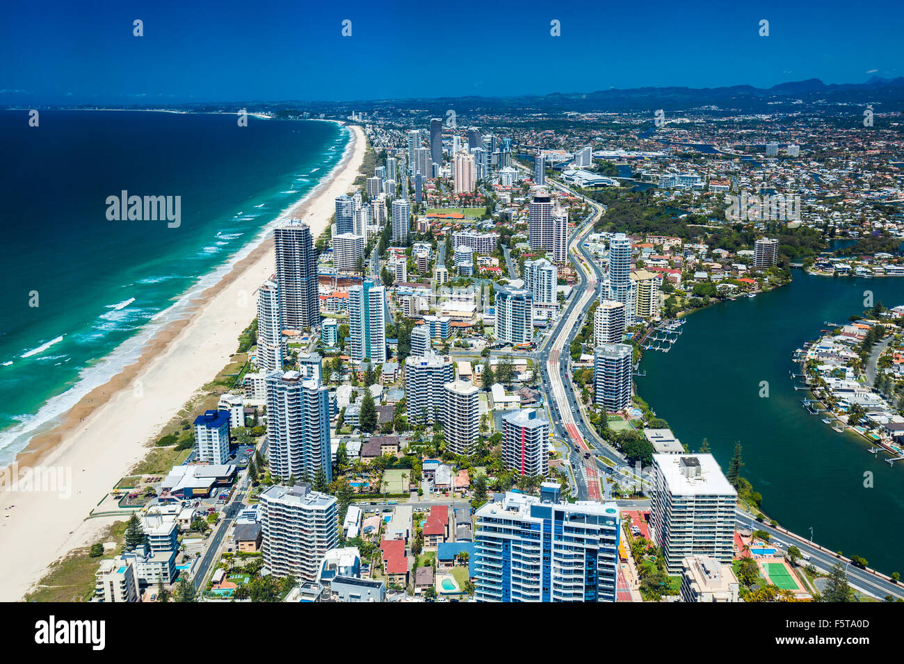 GOLD COAST, AUS - OCT 04 2015: Aerial view of the Gold Coast in Queensland Australia looking from Surfers Paradise Stock Photo