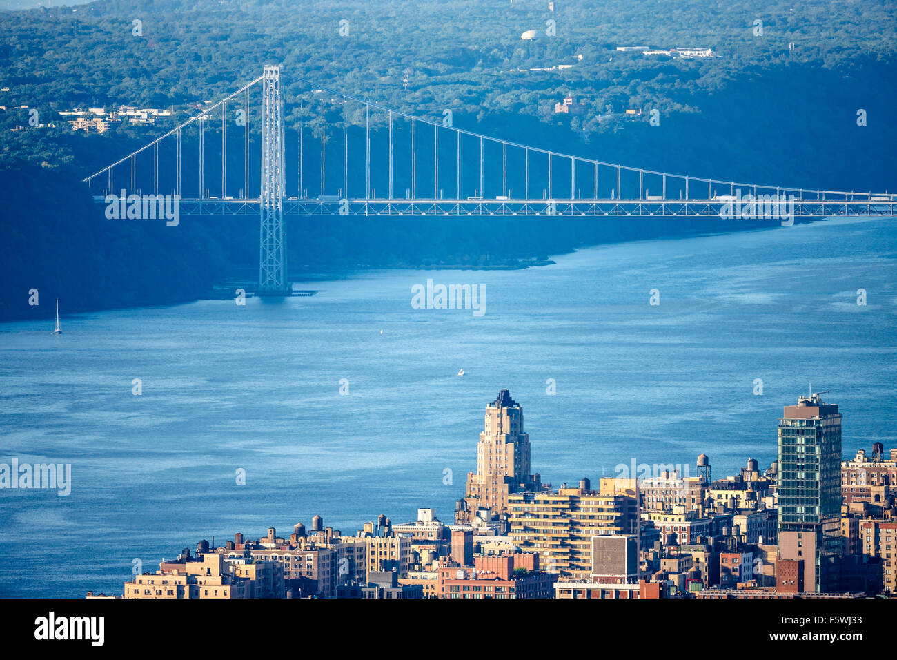 Aerial view of Manhattan Upper West Side with George Washington Bridge and Hudson River. New York City. - Stock Image