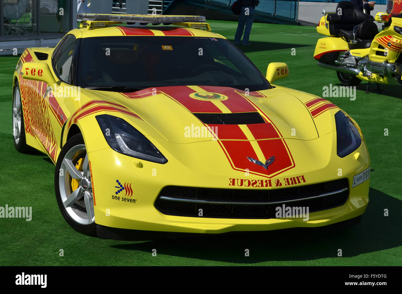 Dubai, UAE. 10th November, 2015. Hot Rod: Dubai Civil Defence are using a brght yellow V8-powered Chevrolet Corvette Stock Photo