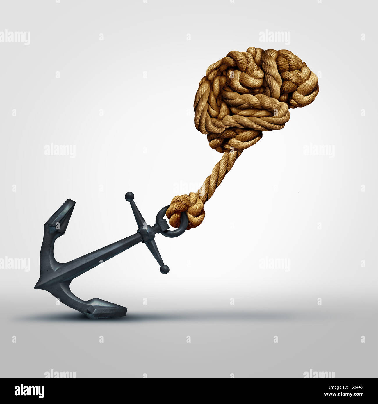 Brain strength concept as a group of ropes shaped as human thinking organ pulling a heavy anchor as a symbol for - Stock Image