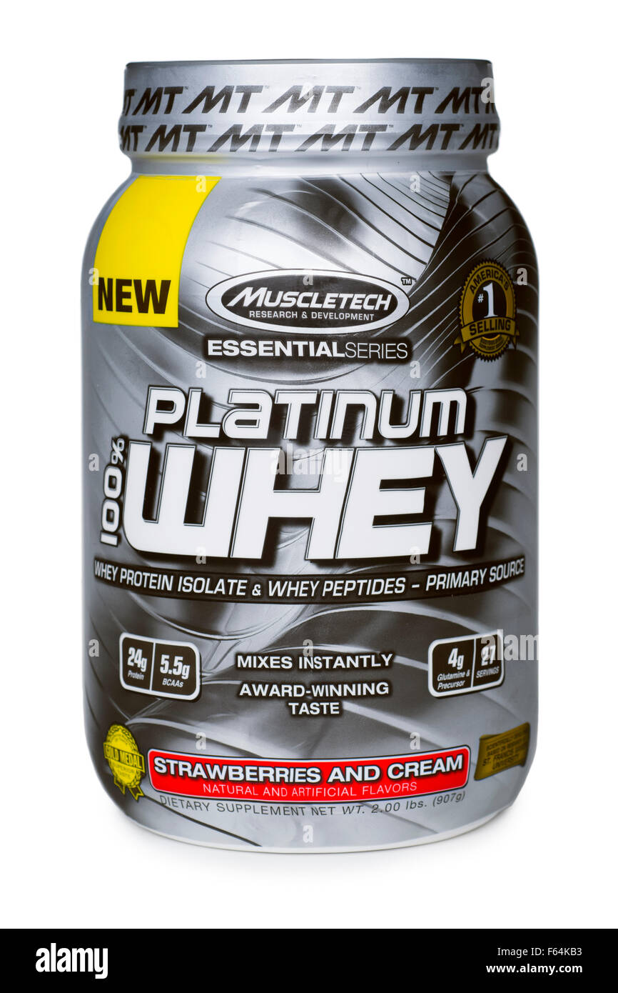 Whey Protein Isolate, Jar of Isolated Whey Protein Powder with BCAA, Bodybuilding Supplements - Stock Image