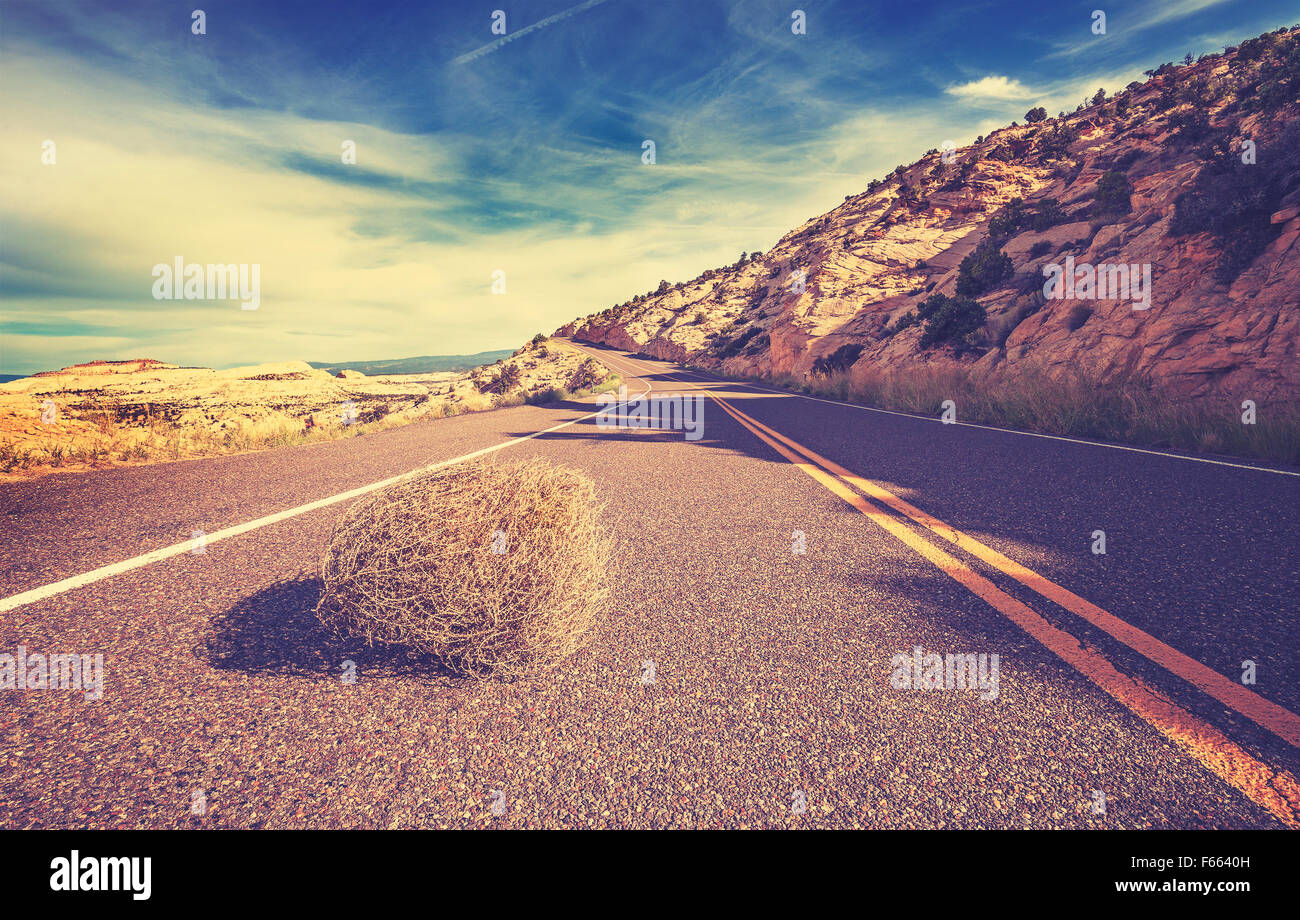 Vintage toned tumbleweed on empty road, travel concept picture. - Stock Image
