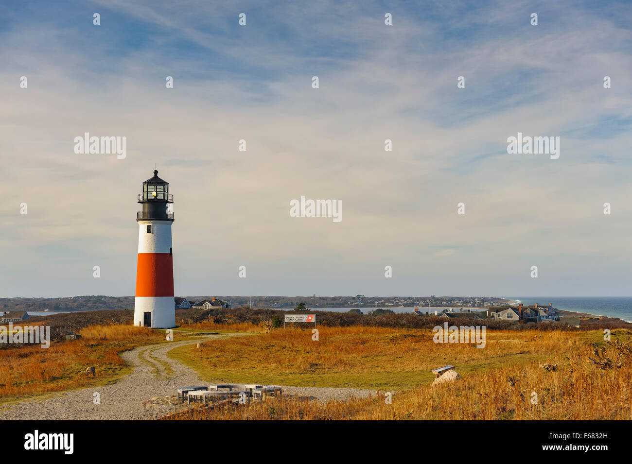 Sankaty Head Lighthouse Nantucket Massachusetts, built in 1850, sweeping view of the moors and sea in autumn fall Stock Photo