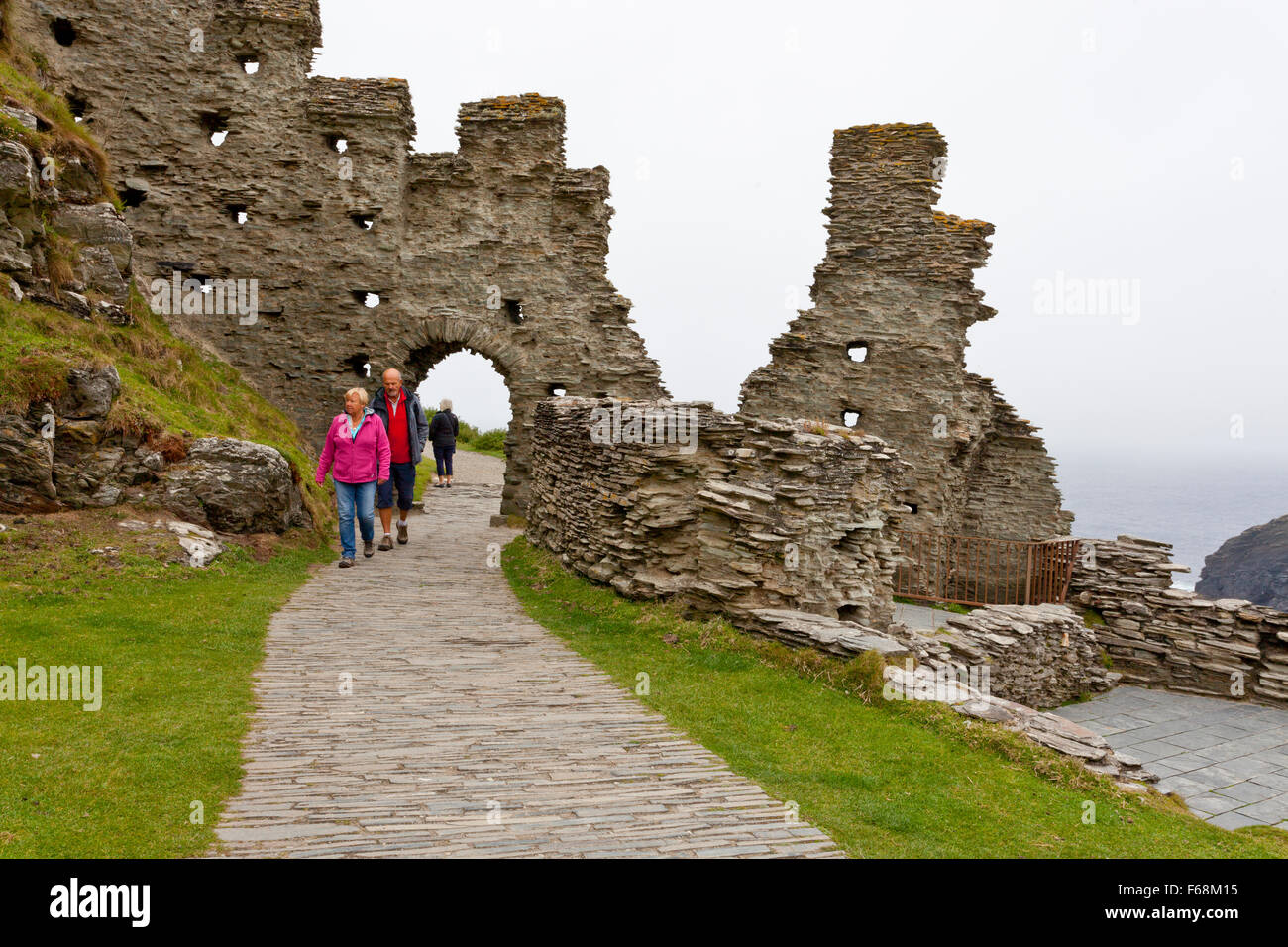 The ruins of Tintagel Castle (English Heritage) in Cornwall, England, UK Stock Photo