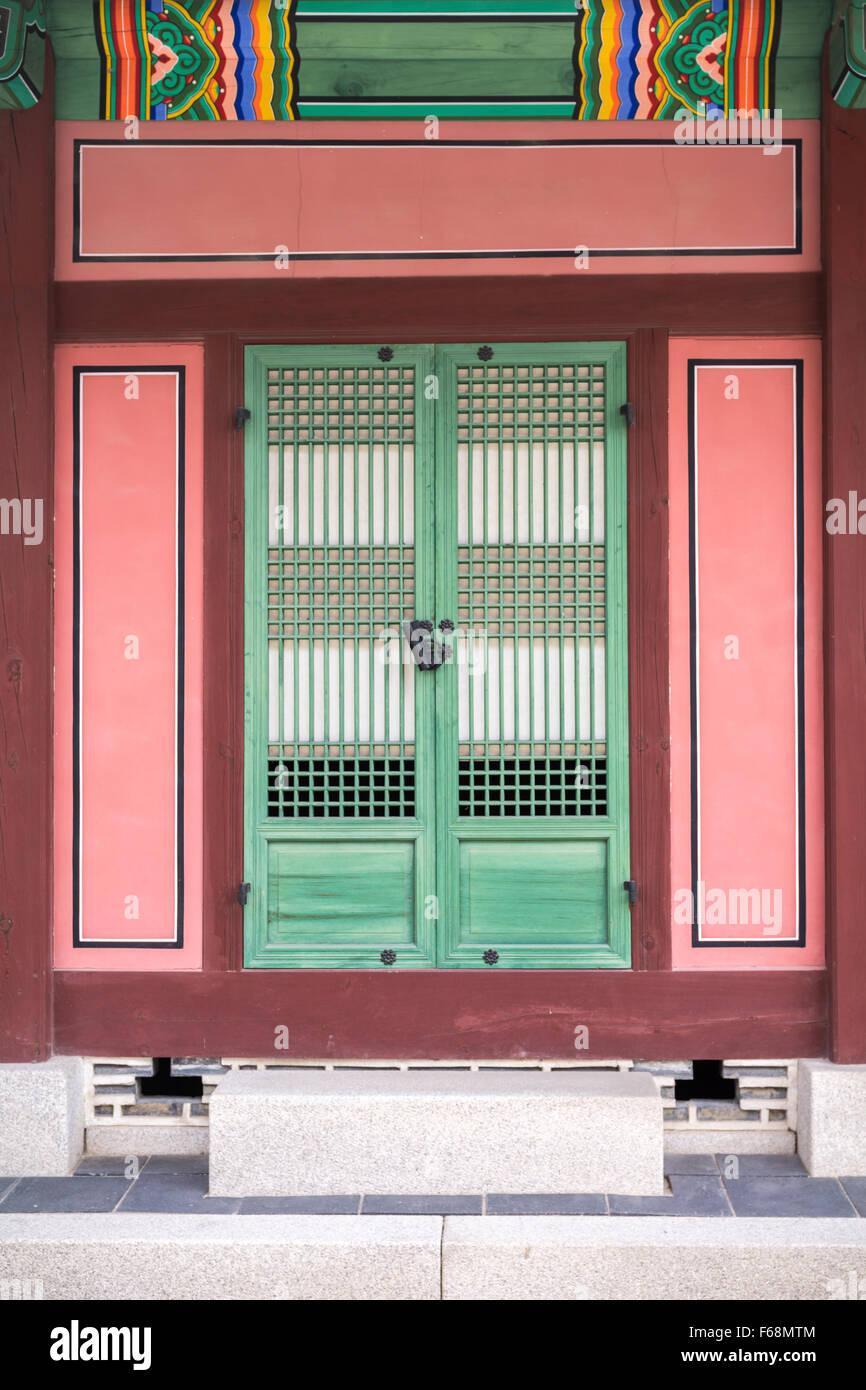 Door in Gwanghwamun, Seoul South Korea - Stock Image