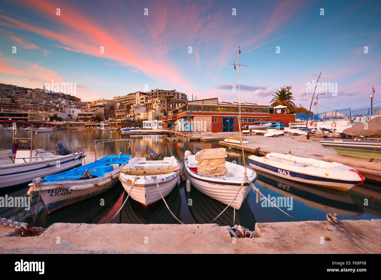 Boats mooring in Mikrolimano marina in Athens, Greece - Stock Image