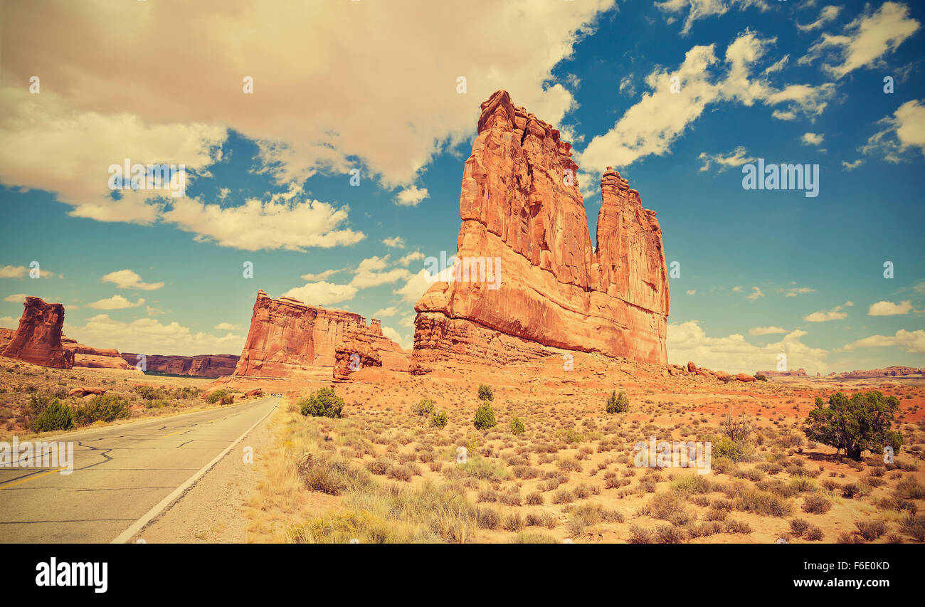 Vintage toned scenic road in Arches National Park, Utah, USA. - Stock Image