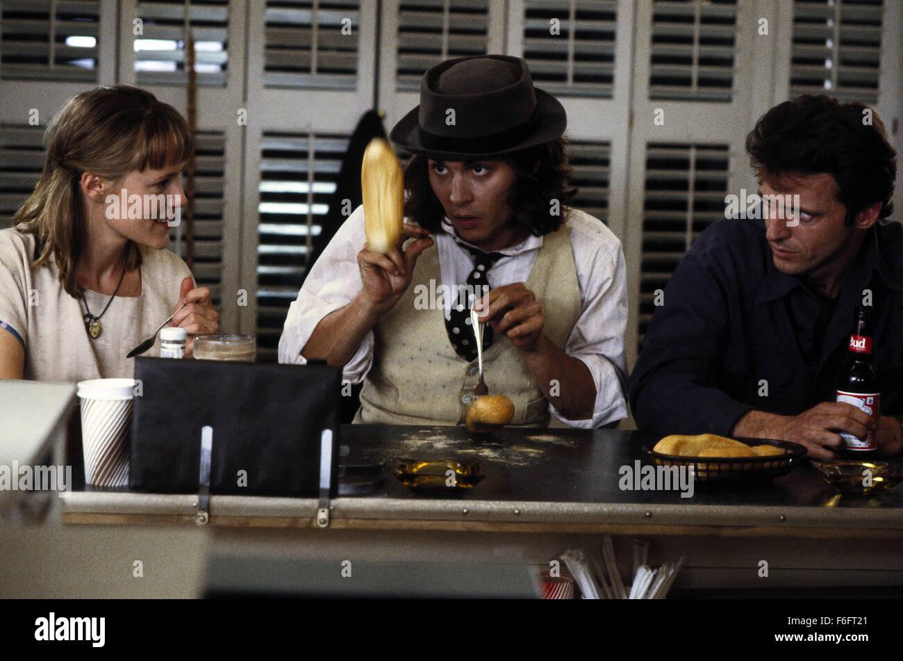 Apr 16, 1993; Spokane, WA, USA; (left to right) MARY STUART MASTERSON as Juniper 'Joon' Pearl, JOHNNY DEPP as Sam, Stock Photo