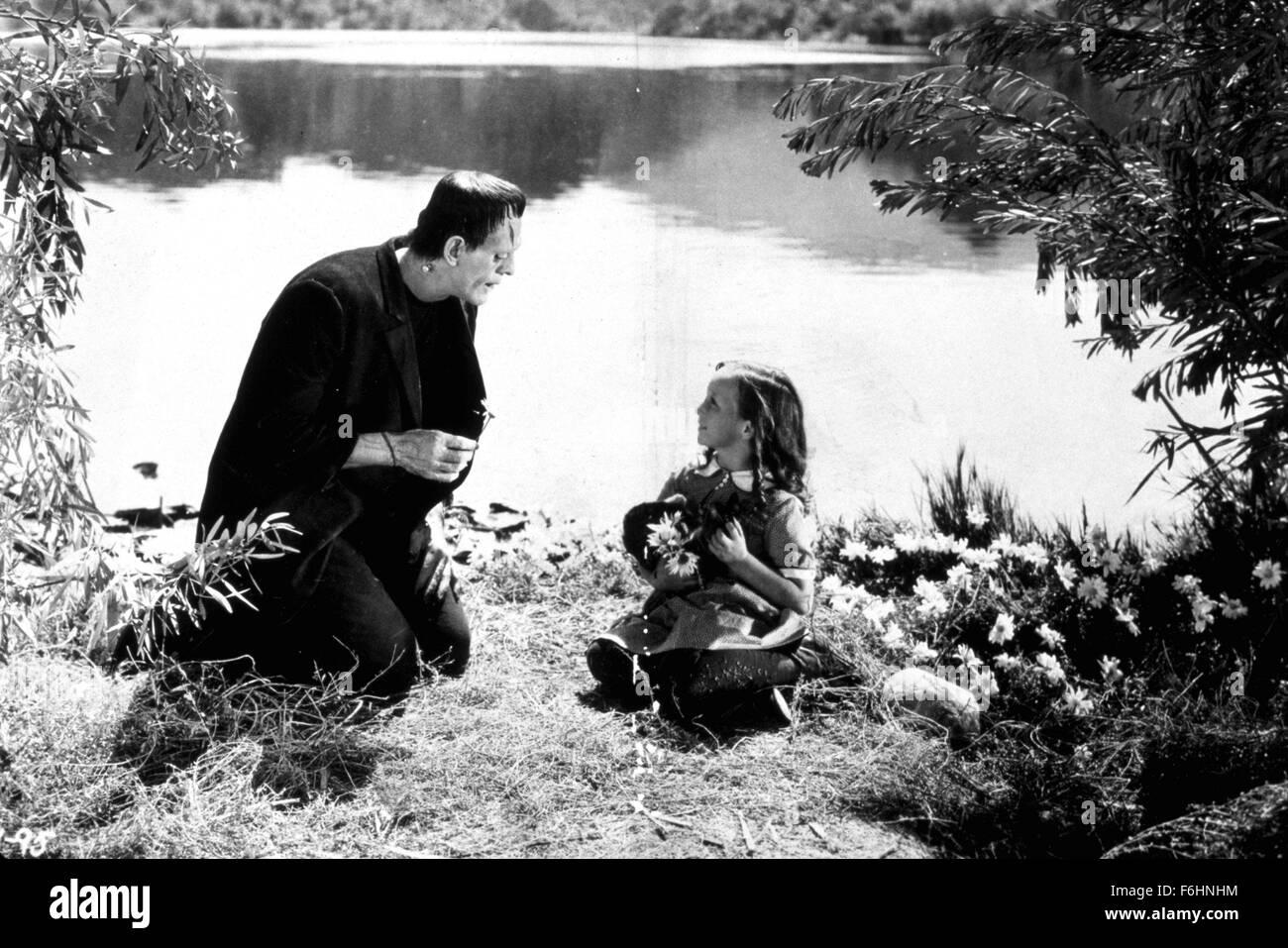 1931, Film Title: FRANKENSTEIN, Director: JAMES WHALE, Studio: UNIV, Pictured: FRANKENSTEIN, MILDRED HARRIS, BORIS Stock Photo