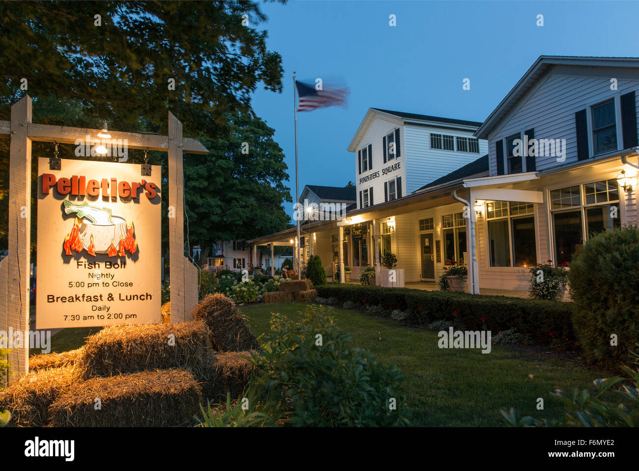 USA,Wisconsin,Door County, Fish Creek, Pelletier's fish boil sign - Stock Image