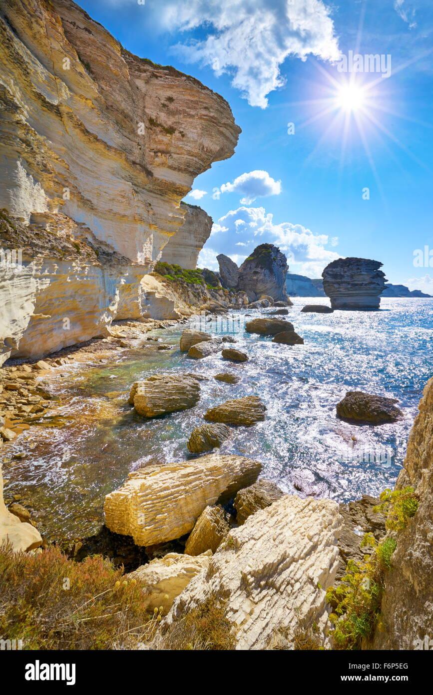 The limestone cliff, Bonifacio, South Coast of Corsica Island, France - Stock Image