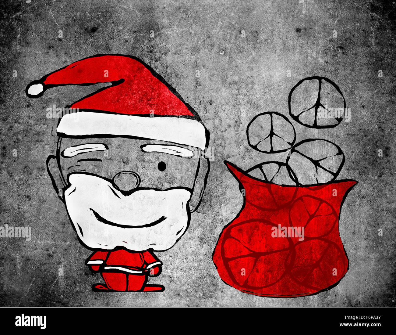 Santa Claus and peace symbols digital illustration - Stock Image
