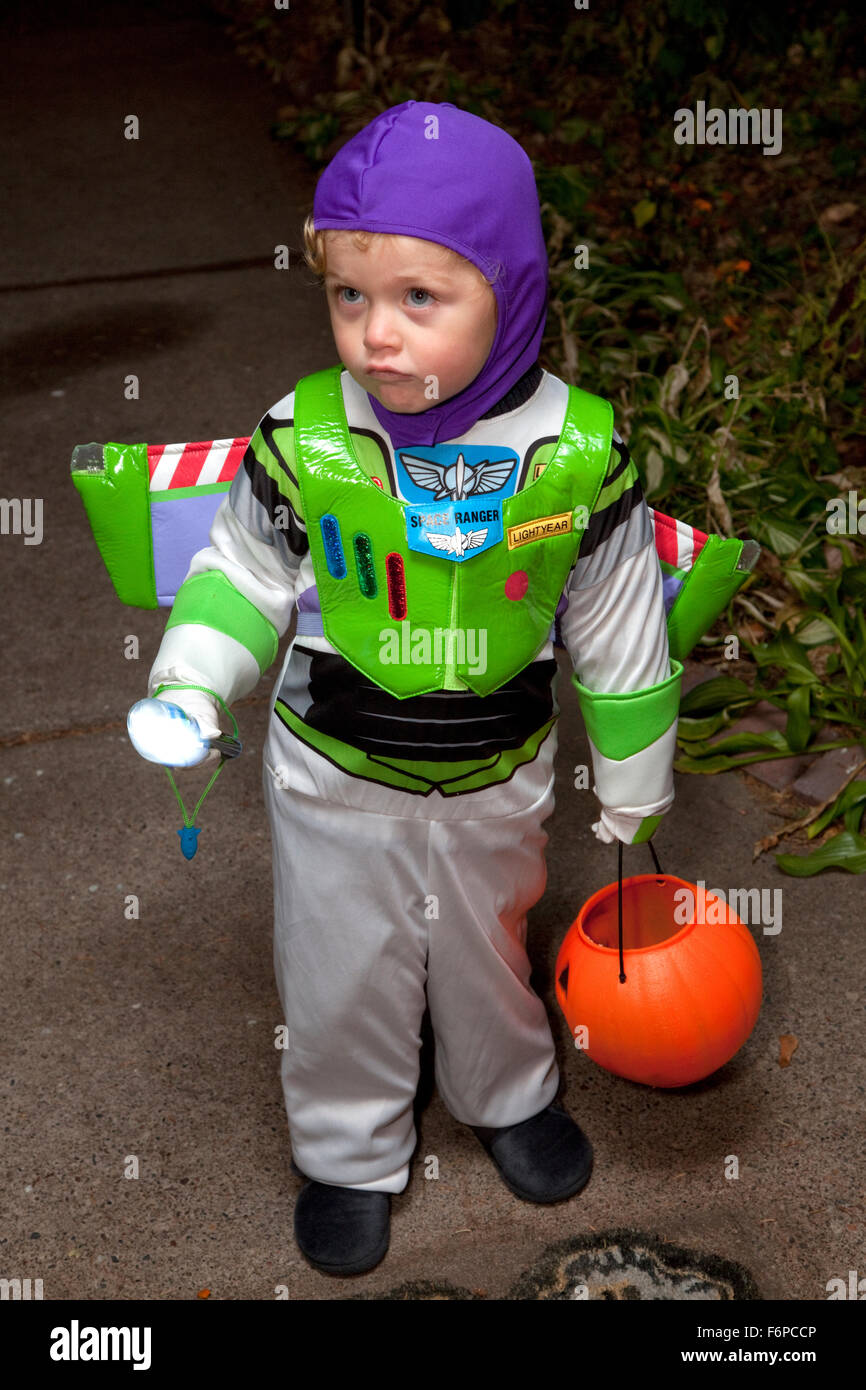 Young boy in Buzz Lightyear Halloween trick or treater costume. St Paul Minnesota MN USA - Stock Image