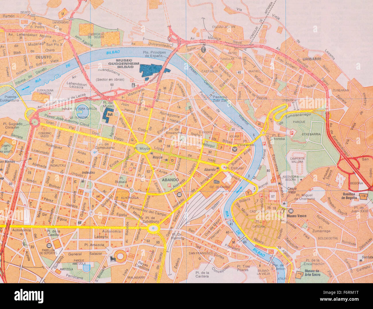 Street map Of The Spanish City Of Bilbao Spain Stock Photo 90260404