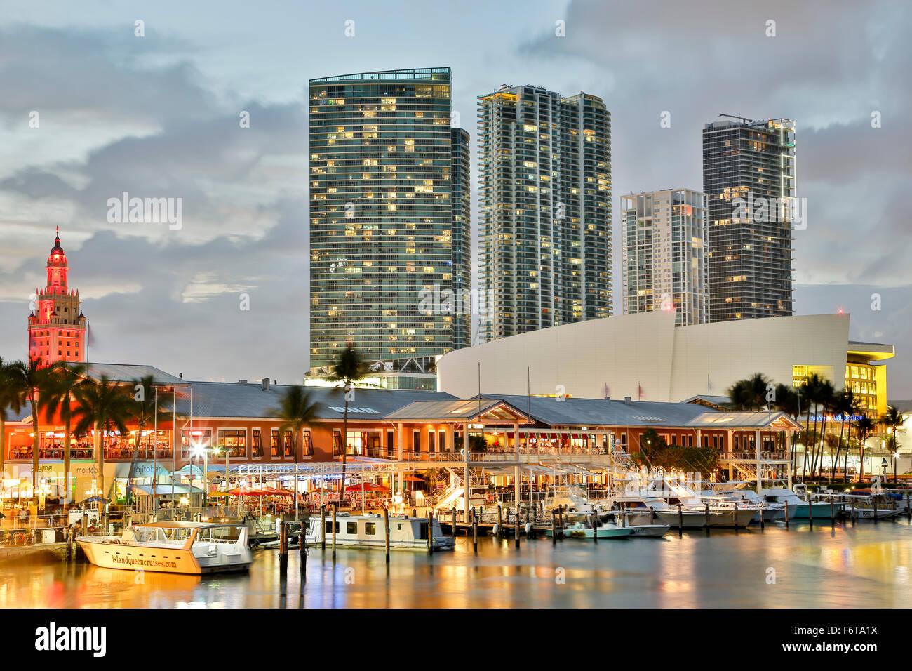 Marina at Bayfront Marketplace and skyscrapers, Miami, Florida USA - Stock Image