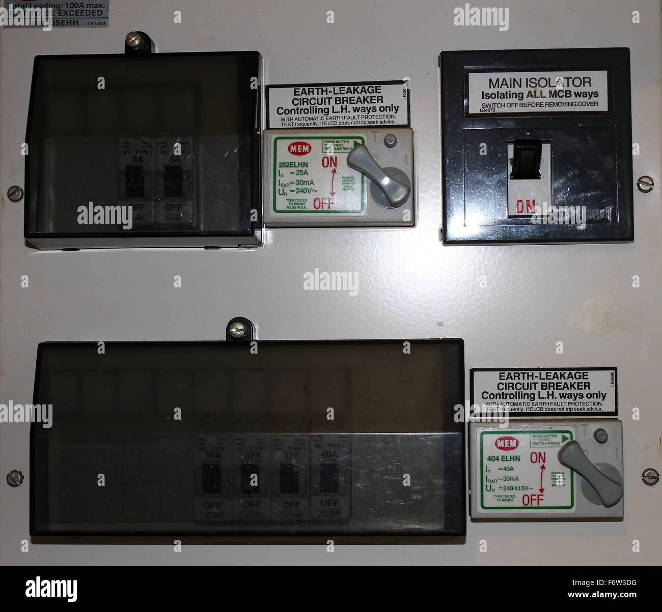 Fuse Box With Trip Switches Stock Photo 90291308 Alamy Circuit Breaker