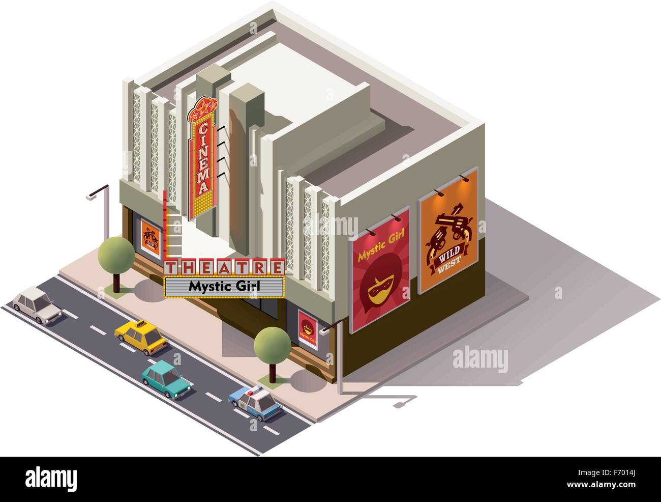 Vector isometric cinema - Stock Image
