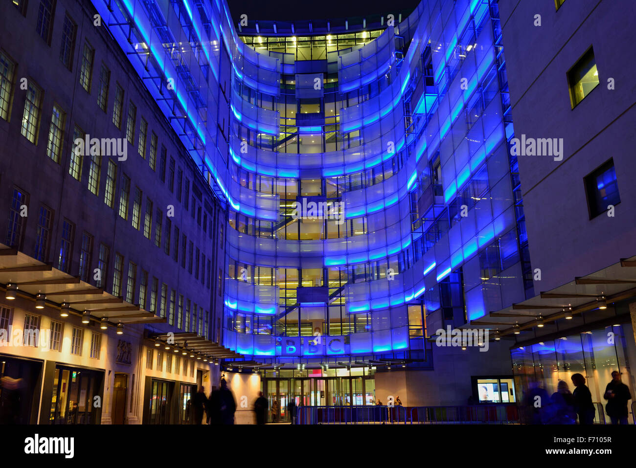 BBC Broadcasting House connecting wing, Portland Place, London W1A, United Kingdom - Stock Image