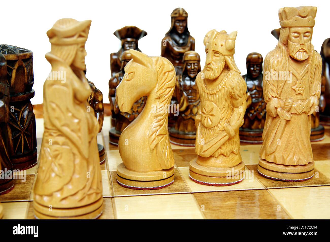 aa5dab075299 wood chess figures handmade stay on board Stock Photo  90408000 - Alamy
