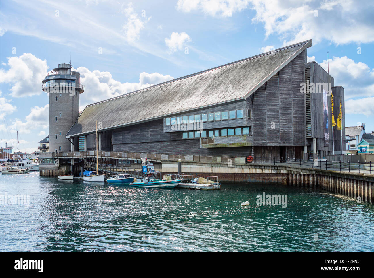 National Maritime Museum at the harbor of Falmouth, Cornwall, England, UK | National Maritime Museum Hafen von Falmouth - Stock Image