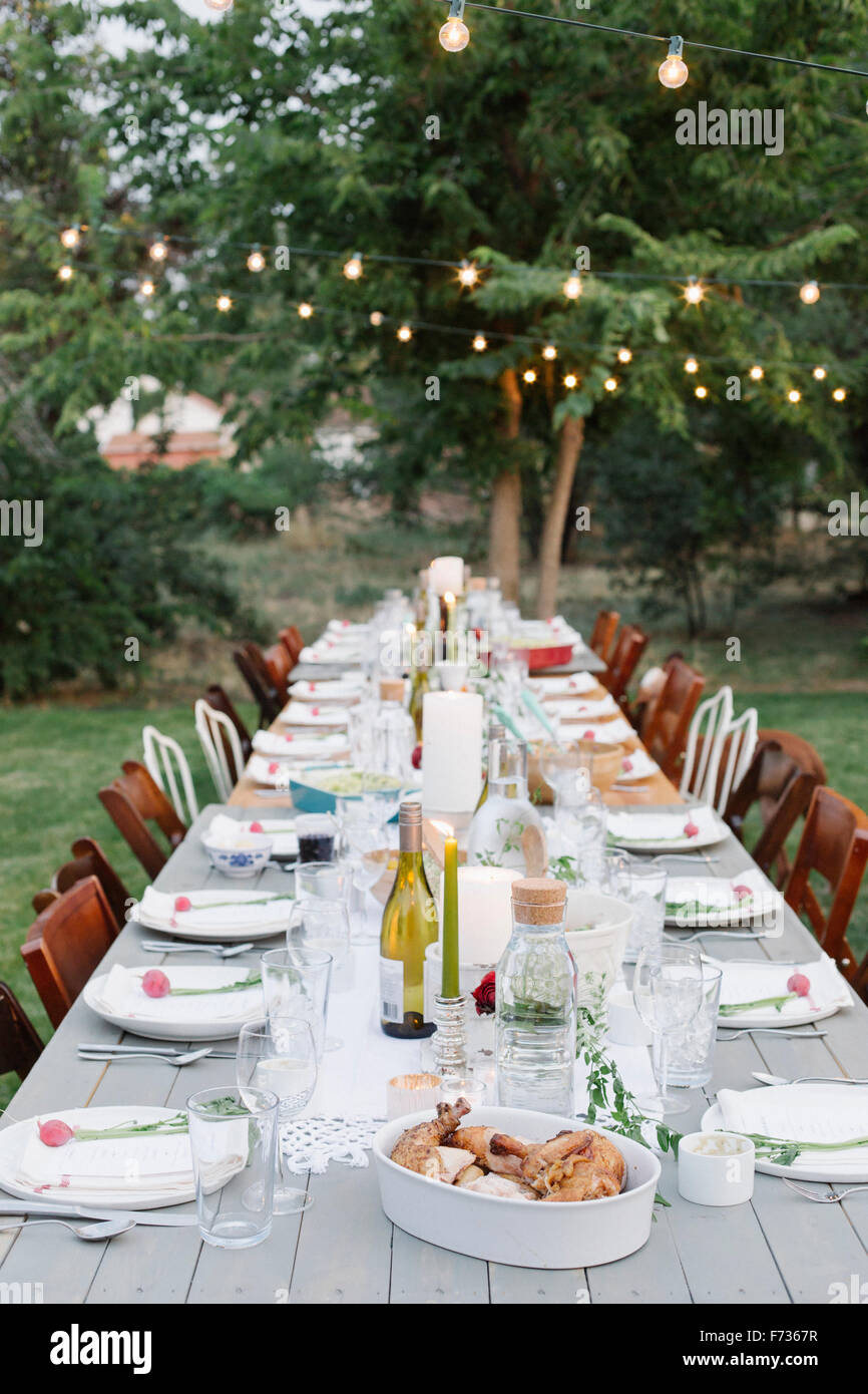 Long table set with plates and glasses, food and drink in a garden. - Stock Image