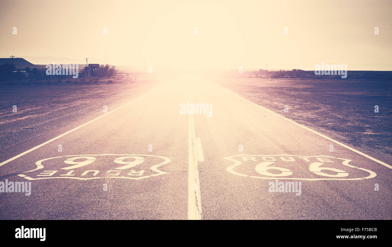 Old film retro toned sunset over Route 66, California, USA. - Stock Image