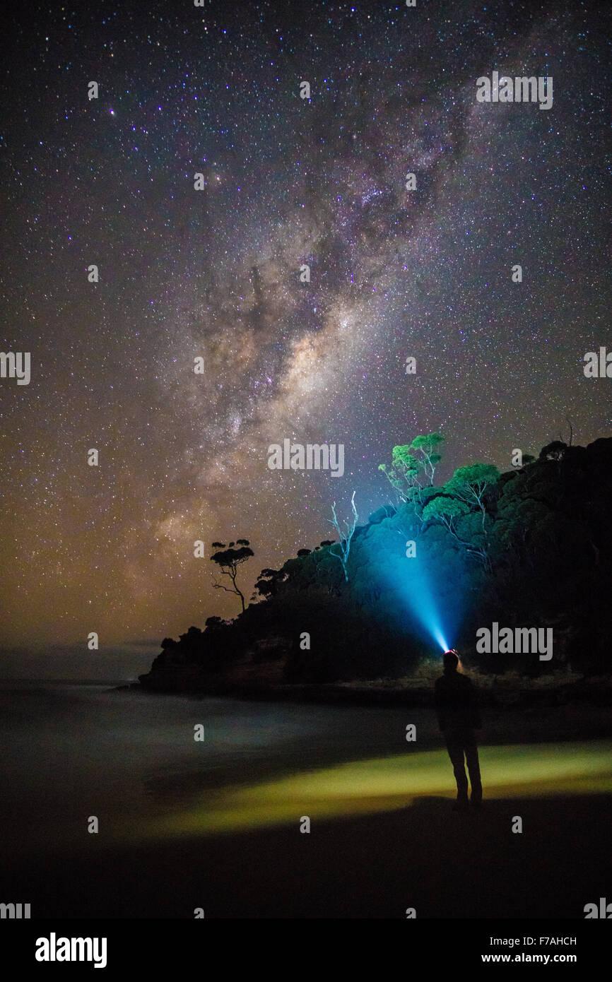 Meroo beach milky way - Stock Image