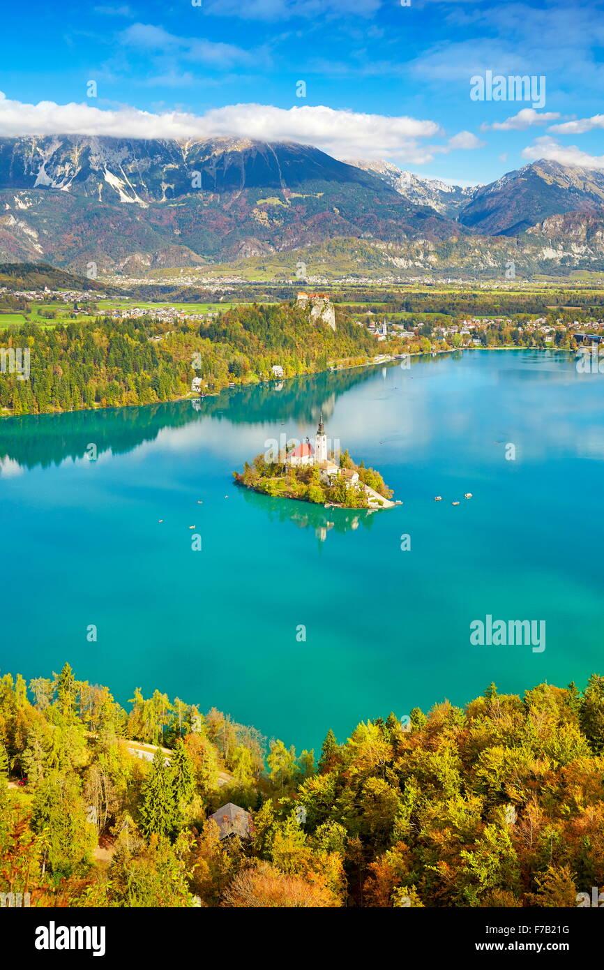 Slovenia, Autumn Lake Bled - Stock Image
