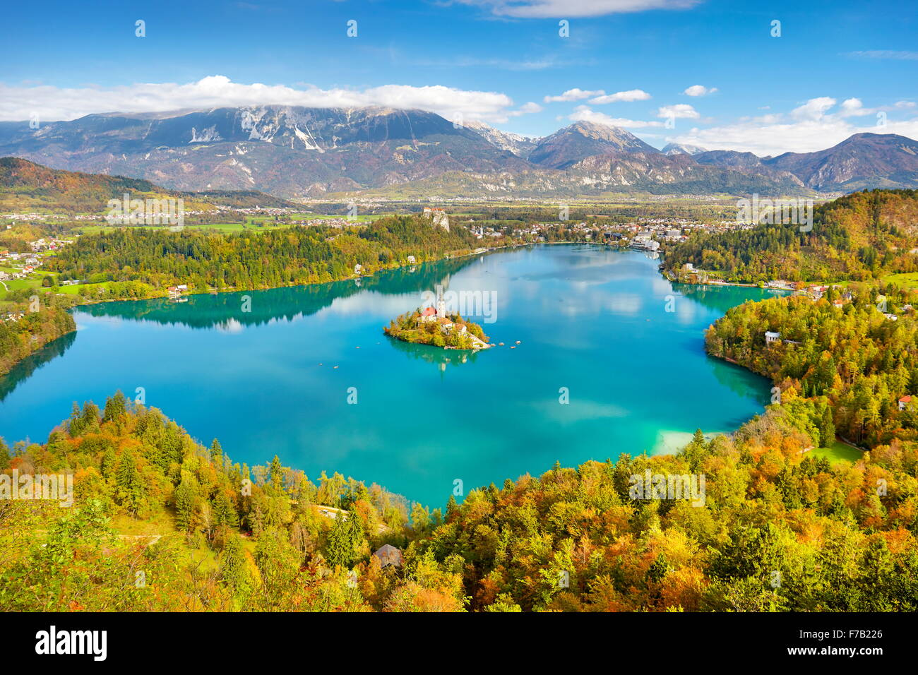 Autumn Lake Bled, Slovenia - Stock Image