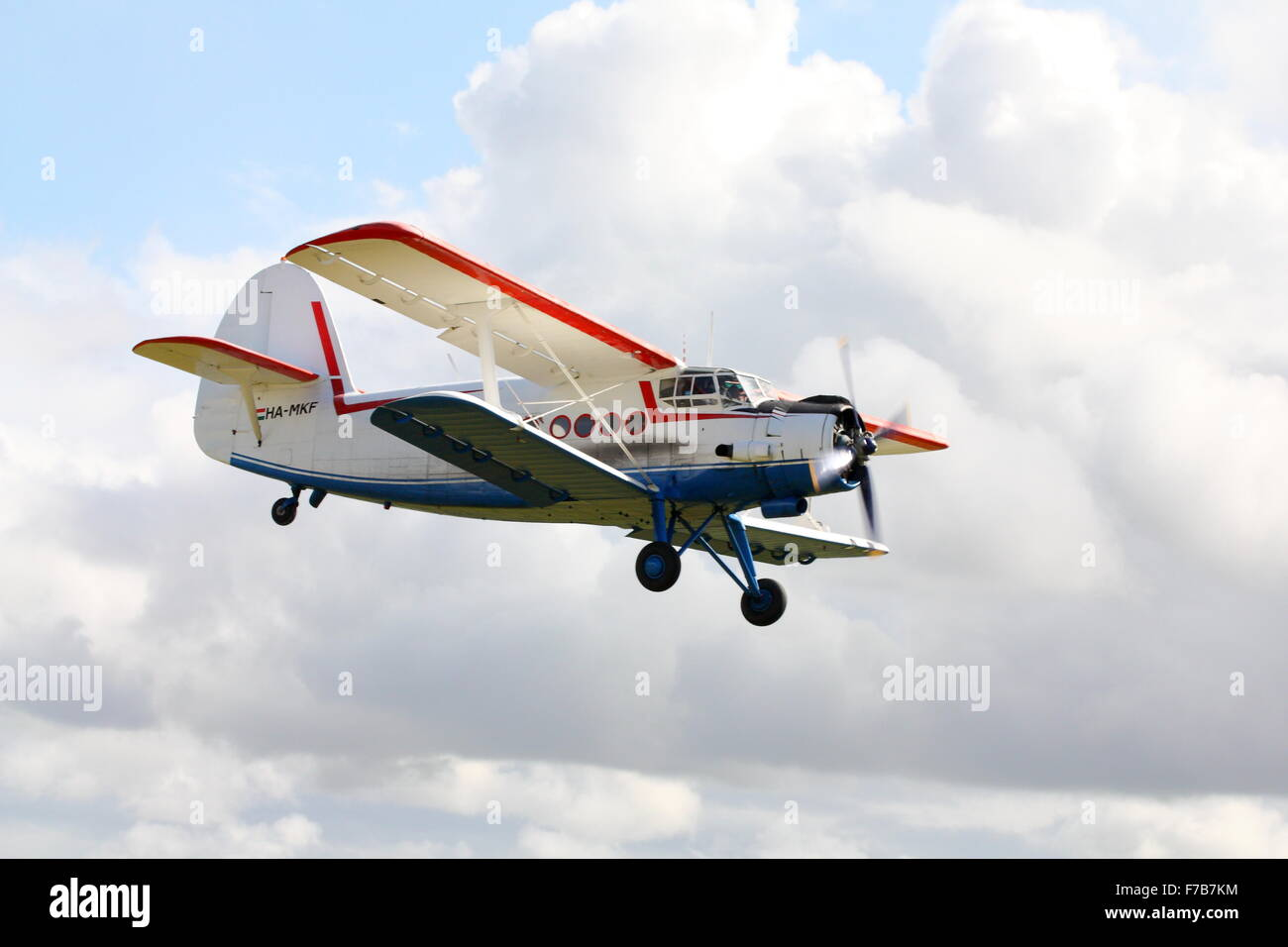 Antonov An-2 flying at Kemble Airfield, Gloucestershire, England - Stock Image