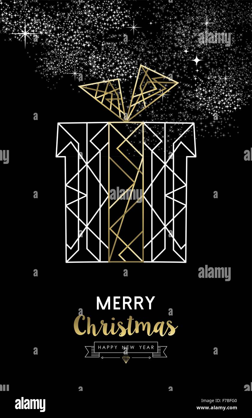 merry christmas happy new year santa gift in outline gold art deco style ideal for xmas greeting card holiday poster or web
