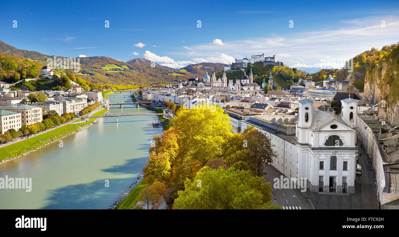 Aerial view of Salzburg Old Town, Austria - Stock Image
