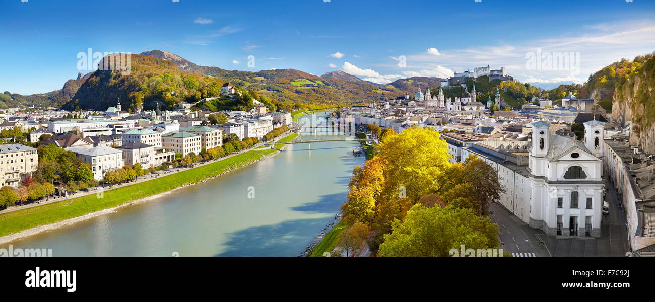 Panoramic aerial view of Salzburg city, Austria - Stock Image
