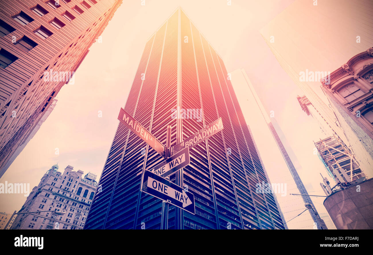 Retro old film style photo of street signs in Manhattan, NYC. - Stock Image