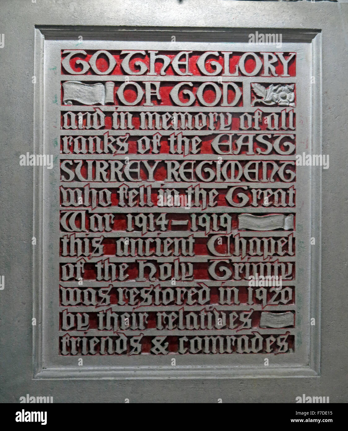 To,The,Glory,of,God,and,in,the,memory,of,all,ranks,of,the,East,Surrey,Regiment,who,fell,in,the,great,war,1914-1919.,This,ancient,chapel,of,the,holy,Grimty,was,restored,by,their,relatives,friends,and,comrades.,and,in,the,memory,of,all,ranks,of,the,East,Surrey,Regiment,on-thames,thames,plaque,stone,GoTonySmith,ESR,red,cream,ivory,record,monument,All Saints,Kingston-on-thames,London,England,UK,All Saints,town,on,Thames,Buy Pictures of,Buy Images Of,East Surrey Regiment
