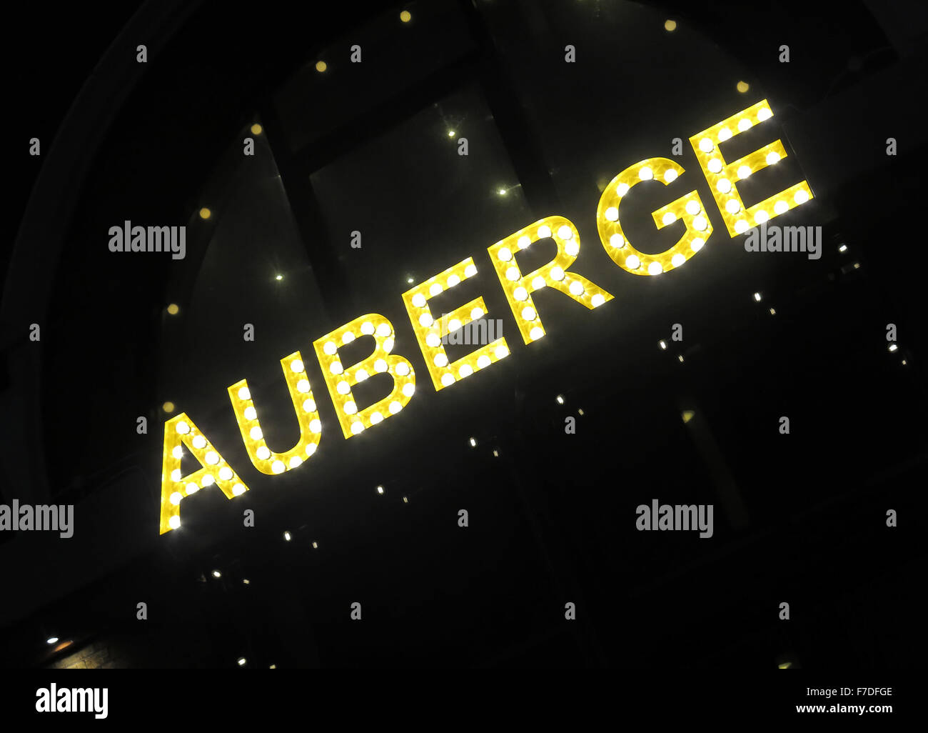 France,French,food,sign,night,dusk,at,auberge,auberge,pub,restaurant,waterloo,london,restaurant,sandell,st,street,waterloo,yellow,star,stars,food,at night,GoTonySmith,Buy Pictures of,Buy Images Of