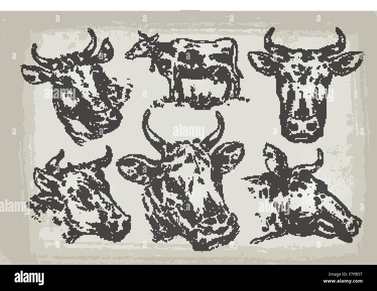 collection of hand drawn cows vector illustration stock vector art