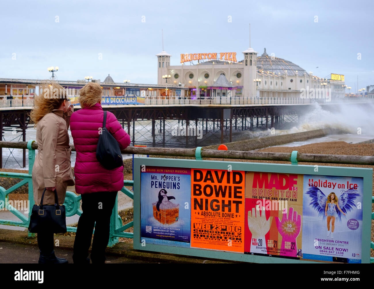 Brighton, UK. 30th Nov, 2015. With winds gusting to  60 mph and the pier in Brighton facing stormy seas there were - Stock Image