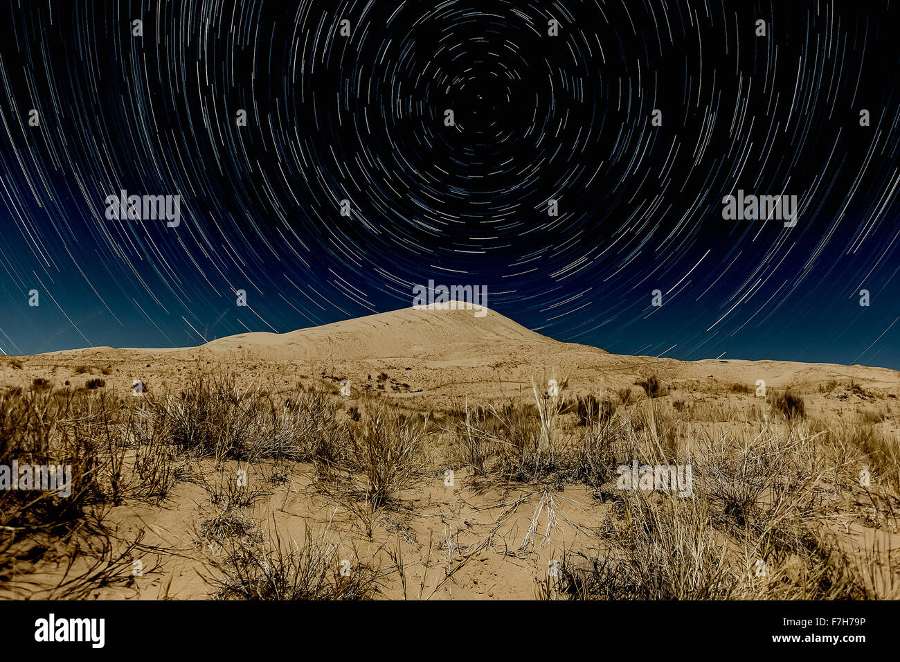 Kelso Dunes, Mojave National Preserve with star trails - Stock Image
